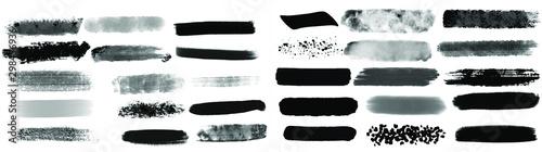 Obraz na plátne Black watercolor brush set for your design, vector.