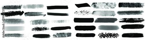 Fotografia, Obraz Black watercolor brush set for your design, vector.
