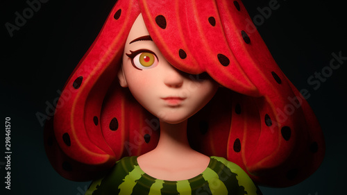 3d digital illustration of a watermelon girl with seeds in red fruit hair. Close up portrait of a funny cartoon anime girl in green T-shirt with watermelon rind. Concept art of fruit female character.
