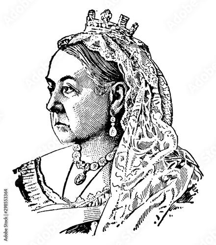 Fotografie, Obraz Queen Victoria of England vintage illustration.