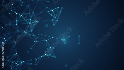 Abstract connected dots and lines on blue background. Communication and technology network concept with moving lines and dots.