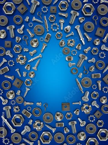 bolts, nuts, nails, screws, tools christmas tree blue