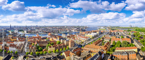 Canvas Print panoramic view at the city center of copenhagen
