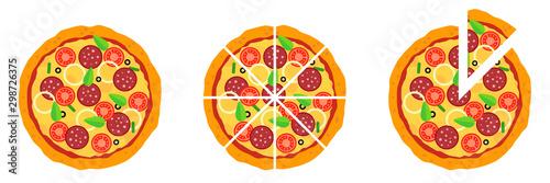 Fotografie, Obraz Whole and chopped pizza icon