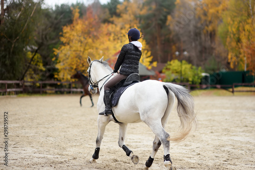 Girl rider trains in horse riding in equestrian club on autumn day Fototapeta