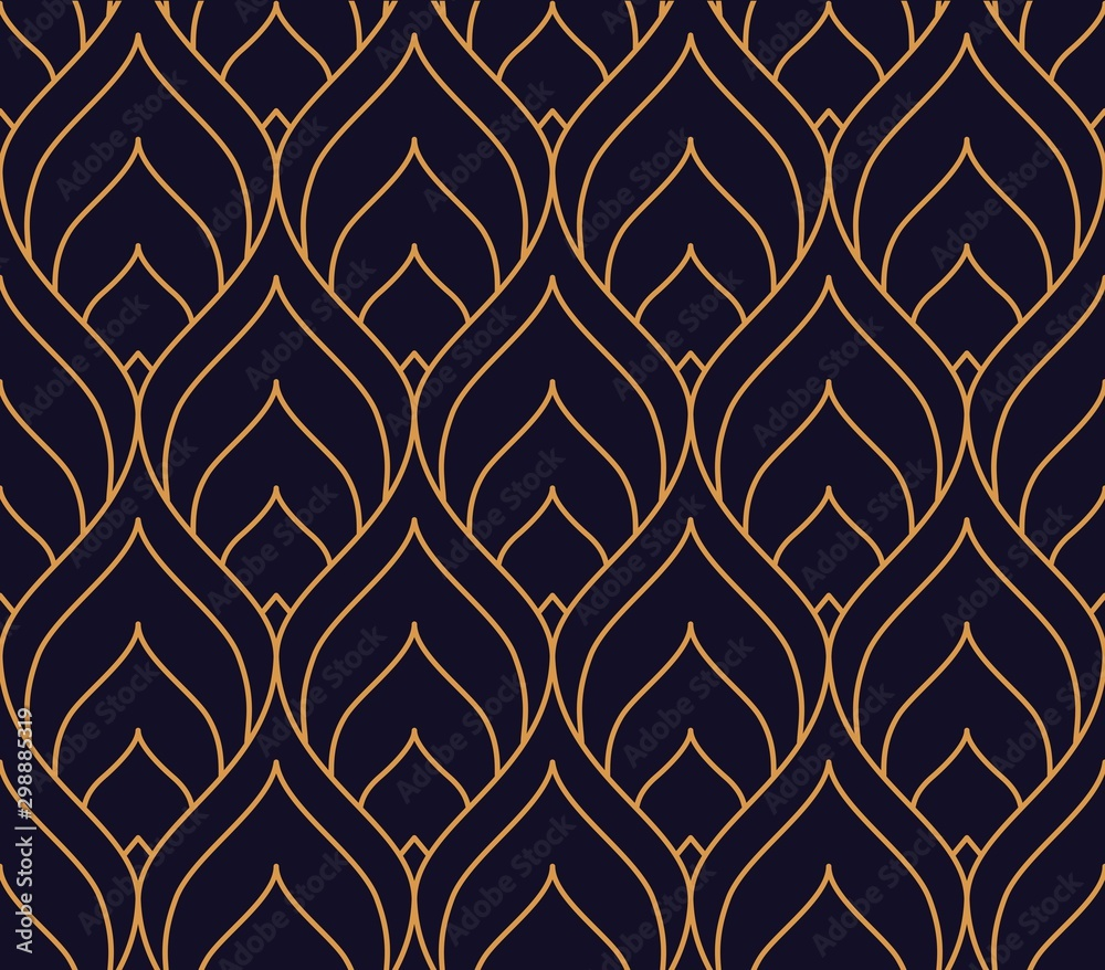 Vector ornamental seamless pattern. Gold and blue background and wallpaper in Arabic style. Geometric pattern. illustration for your design. ь <span>plik: #298885319 | autor: Viktoriia</span>
