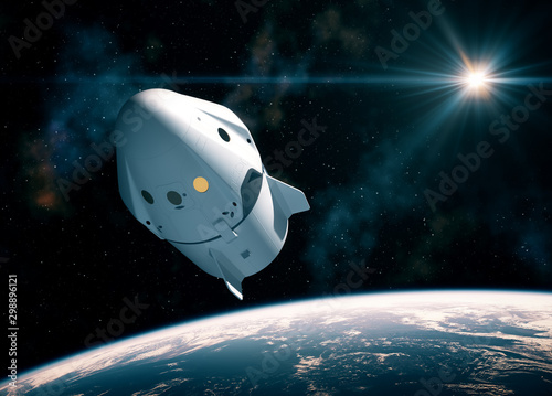 New Commercial Space Capsule Orbiting Planet Earth Fototapete