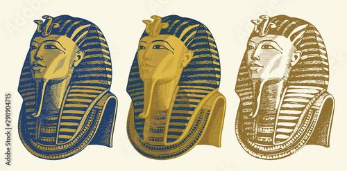 Fototapeta Set of vector pencil drawings of Golden mask of Egyptian pharaoh Tutankhamun