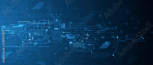 Fotografia Abstract circuit board futuristic technology processing background