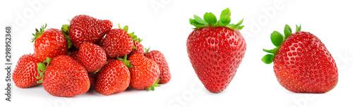 Strawberry on white background. Fresh sweet fruit closeup.