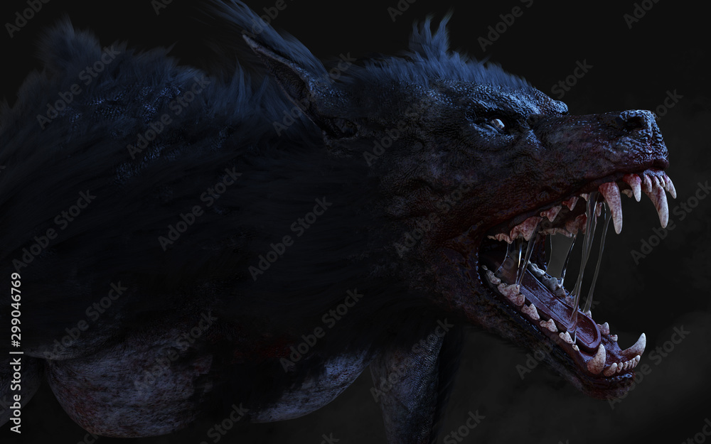 3d Illustration of a werewolf on dark background with clipping path. <span>plik: #299046769 | autor: mrjo_7</span>