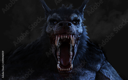Photo 3d Illustration of a werewolf on dark background with clipping path