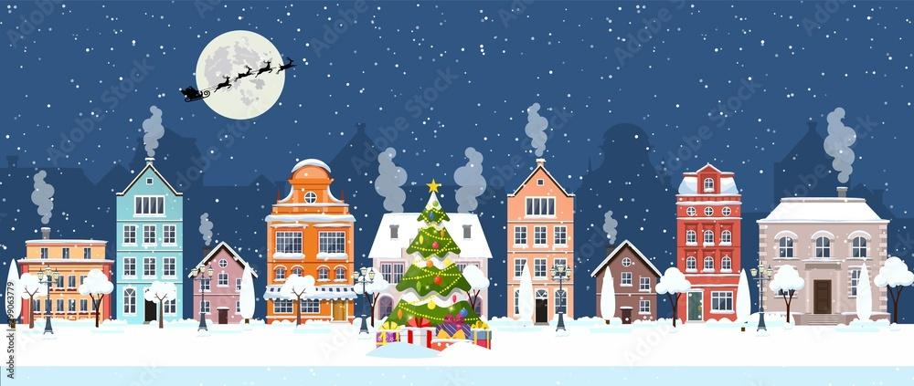 szczęśliwego nowego roku i wesołych świąt zimowych ulic starego miasta. Boże Narodzenie miasto panorama miasta. Święty Mikołaj z jeleniami w niebie nad miastem. Ilustracja wektorowa w stylu płaski <span>plik: #299063779 | autor: Rogatnev</span>