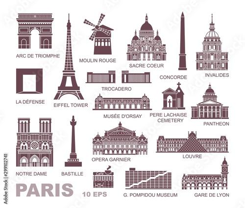 Obraz na plátně Architectural and historical sights of Paris