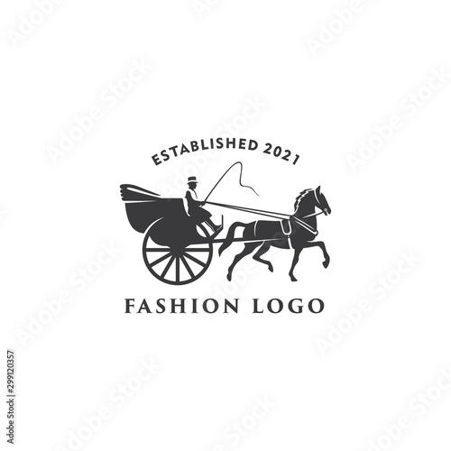 Fotomural illustration Horse cart Drawn classic retro logo design template