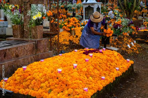 Stampa su Tela La dama está decorando la tumba con flores de cempasúchil el día de los muertos en Michoacán, México