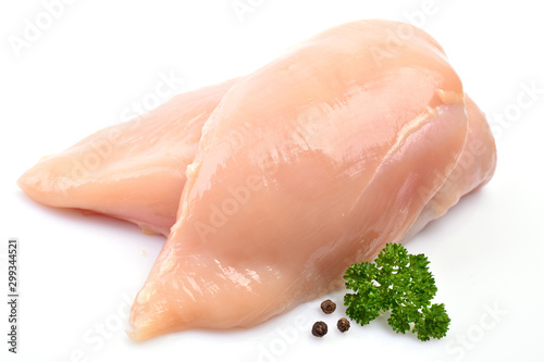 Fotografia Chicken meat on a white background