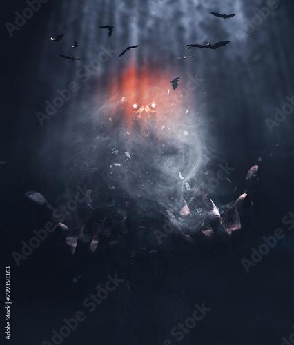 Valokuva Monster with hand of power,3d illustration