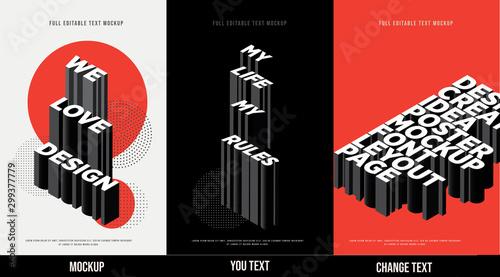 Fotografia Modern poster design template 3D Text Effect Mockup /full editable