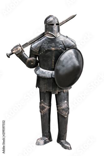 old knight armor on white Fototapet