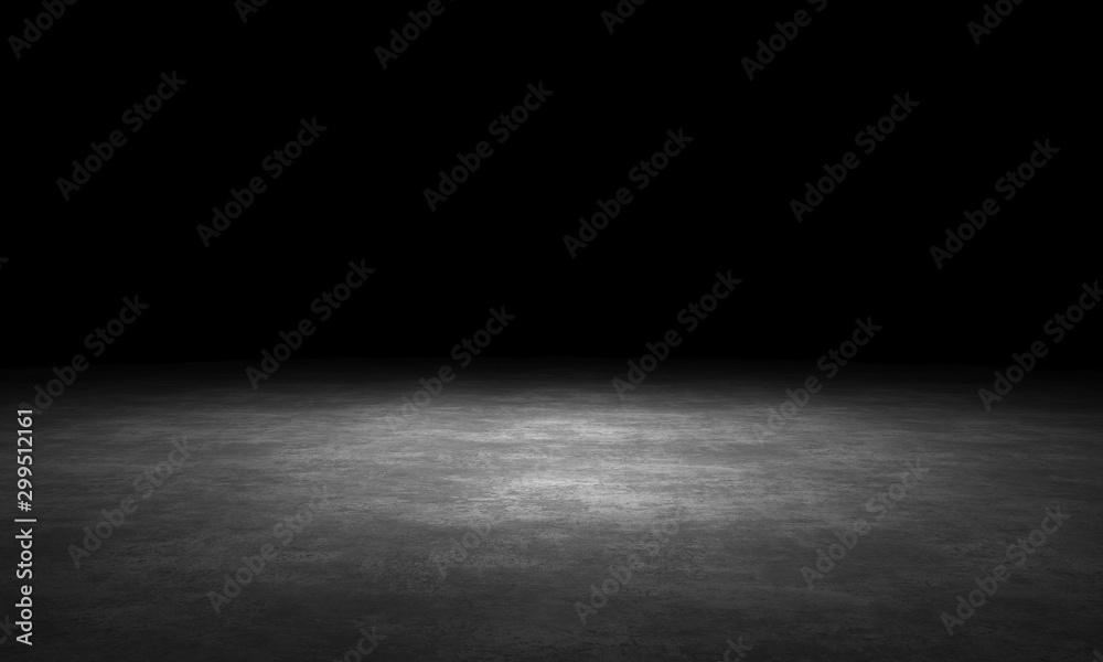 Black background with spotlight to stone ground. Dark interior background. 3D rendering <span>plik: #299512161 | autor: MikeHts</span>