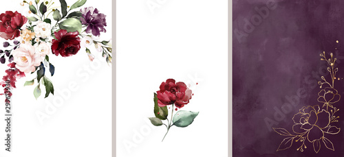 Ready to use Card. Watercolor invitation design with red roses, leaves. flower and watercolor background. floral elements, botanic watercolor illustration. Template for wedding. frame