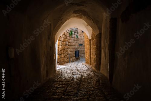 Fototapeta premium kamienna ulica na starym mieście w Izraelu