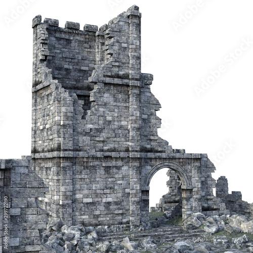 3D Rendered Ancient Castle Ruins on White Background - 3D Illustration Fototapeta