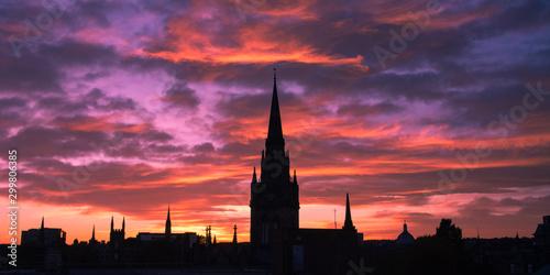 Silhouette of cityscape of Aberdeen in Scotland Fototapete