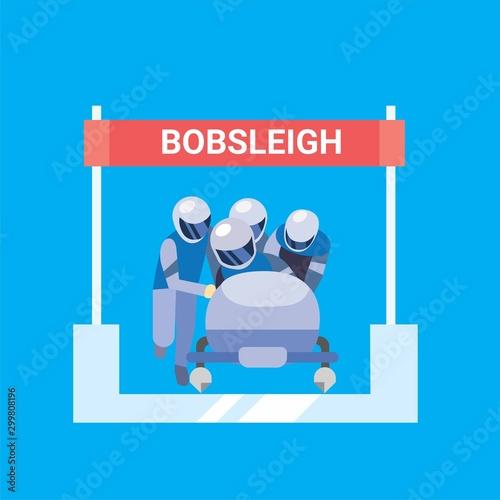Winter sport bobsleigh flat illustration vector icon Fototapeta