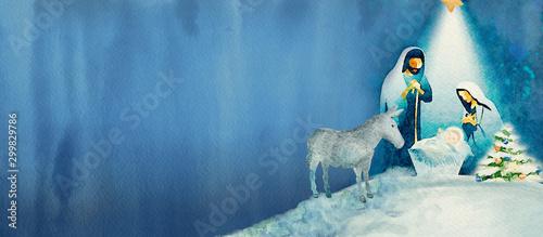 Tableau sur Toile Nativity scene. Merry Christmas watercolor background