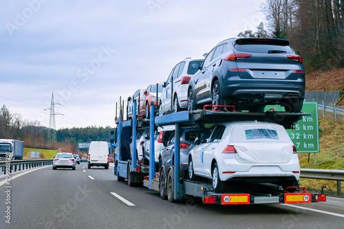 Fotografie, Obraz Car carrier transporter truck on road