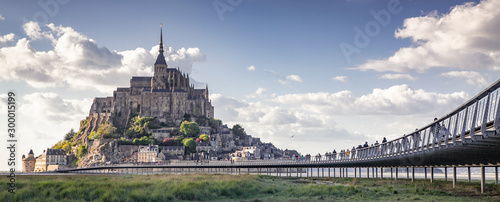 Photo tidelands with Mont Saint-Michel, English Channel, Way of St