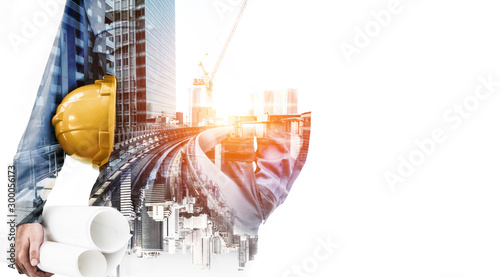 Stampa su Tela Future building construction engineering project concept with double exposure graphic design