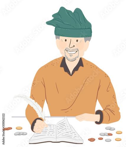 Canvas Print Man Medieval Tax Collector Illustration