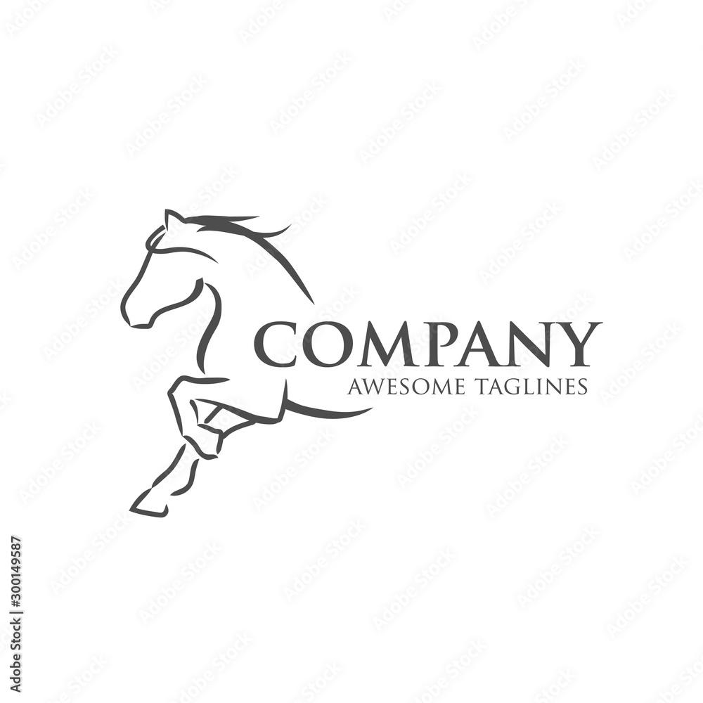prosta ilustracja wektorowa koni najlepiej logo wyścigów sportowych <span>plik: #300149587   autor: krustovin</span>