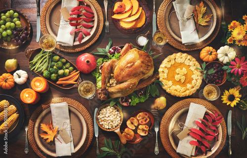 Obraz na plátne Thanksgiving celebration traditional dinner
