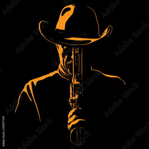 Obraz na plátně Man with cowboy hat and with a revolver