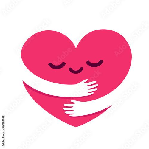 Love yourself heart hug Fototapet