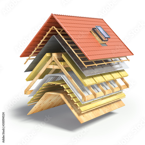 Fotografia Construction of roof from ceramic tiles