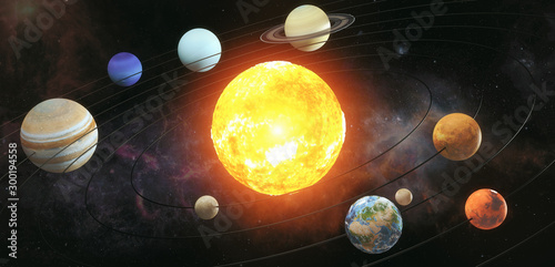Solar system scheme. The sun with orbits of planets on the Universe star background. Elements of this image furnished by NASA