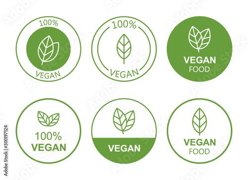 Set flat vegan icon on white background Fototapeta