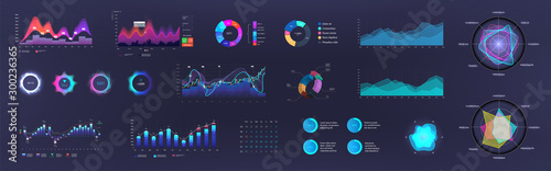 Infographic dashboard template with charts, diagrams elements, online statistics and data analytics. Information panel Mockup. UI, UX, KIT elements design. Vector graphics and infographics set