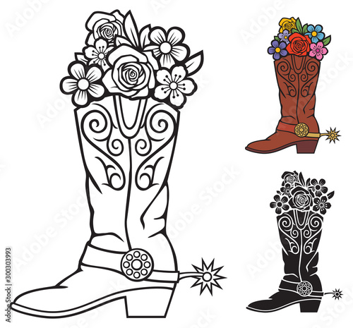 Canvastavla Cowboy boots with flowers vector