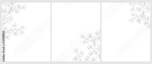 Fotografia Set of 3 Blooming Tree Twigs Vector Illustration