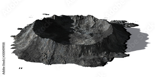 Valokuvatapetti crater on the surface of the Moon, terrain model isolated with shadow on white b