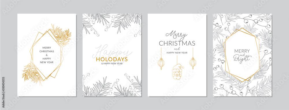 Złote i srebrne kartki świąteczne z ręcznie rysowane gałęzie i jagody. Doodles i szkice ilustracje wektorowe, DIN A6 <span>plik: #300454355   autor: AgataCreate</span>