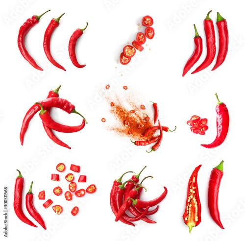 Slika na platnu Set with hot chili peppers isolated on white