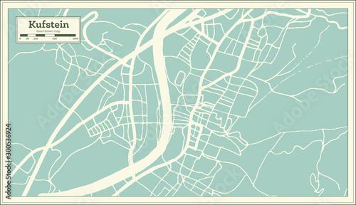 Stampa su Tela Kufstein Austria City Map in Retro Style. Outline Map.