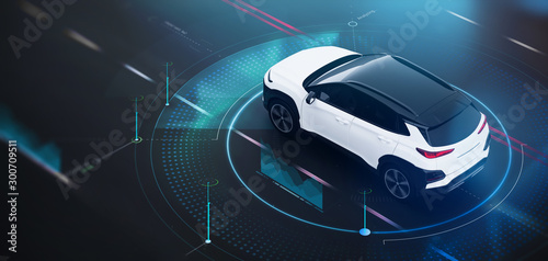 Futuristic car in motion concept scene with technology user interface details (3D Illustration)